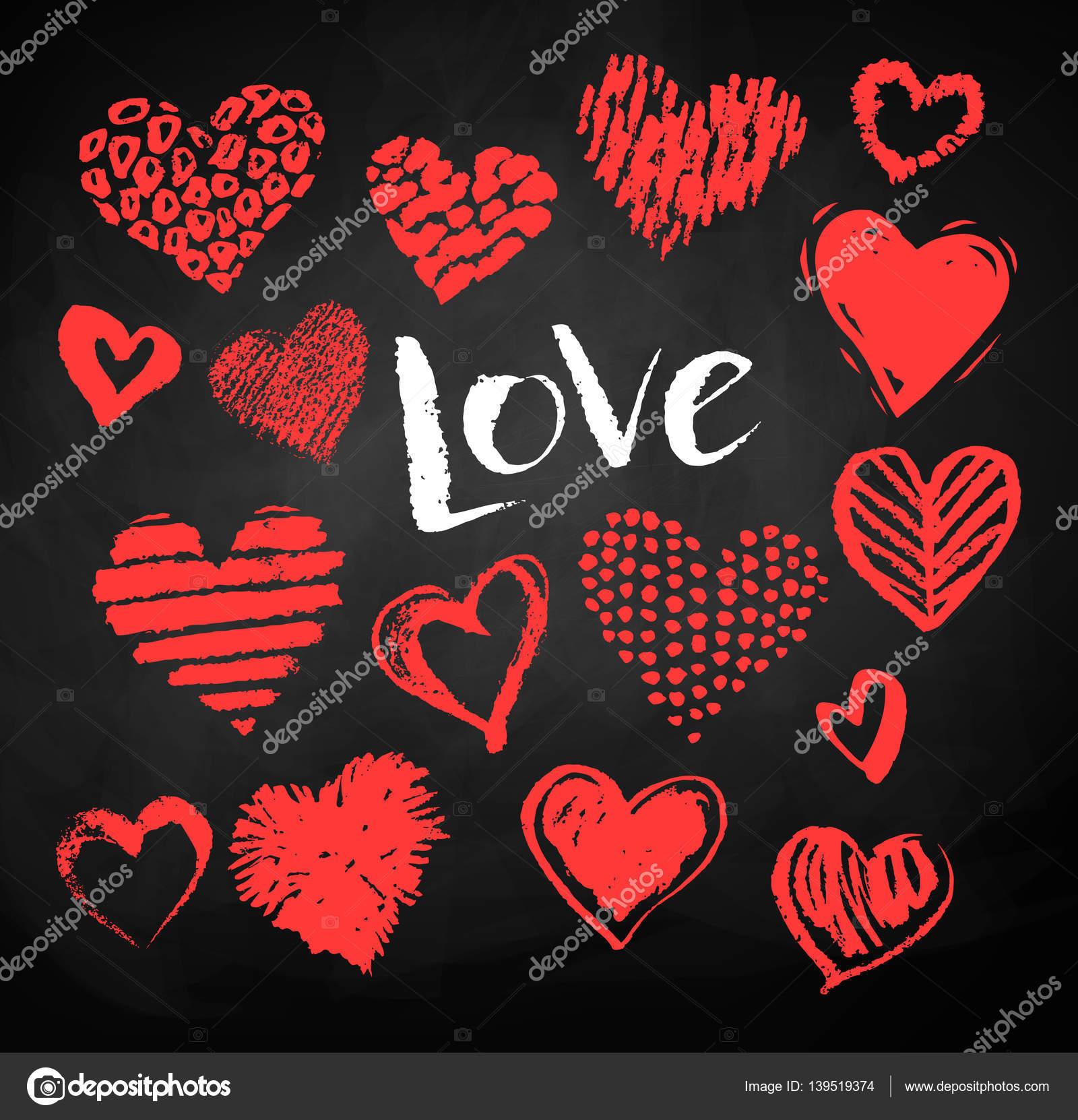 Color tiza dibuja corazones de San Valentín — Archivo Imágenes ...