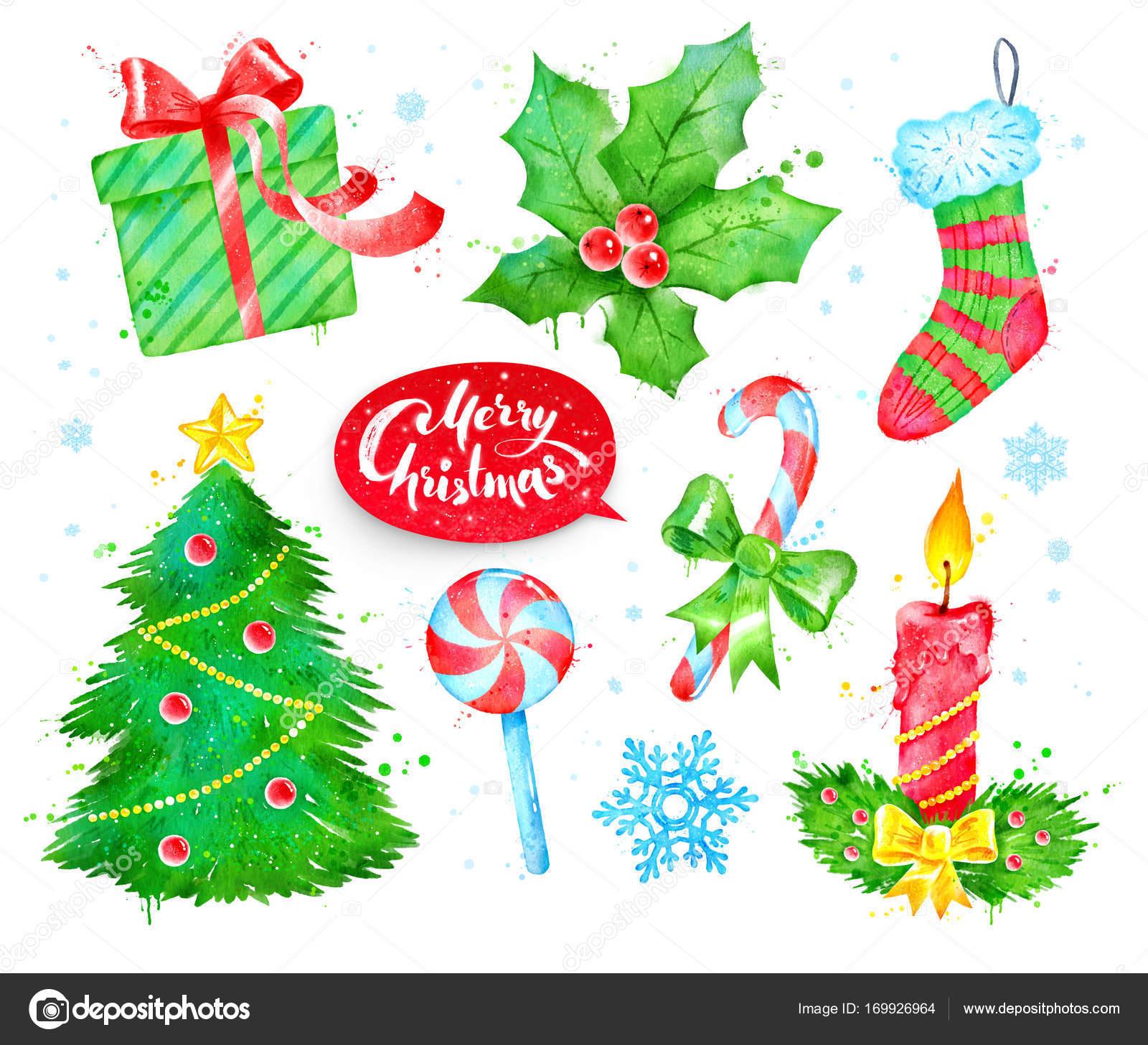 I Simboli Del Natale.Acquerello Con Simboli Di Natale Foto Stock