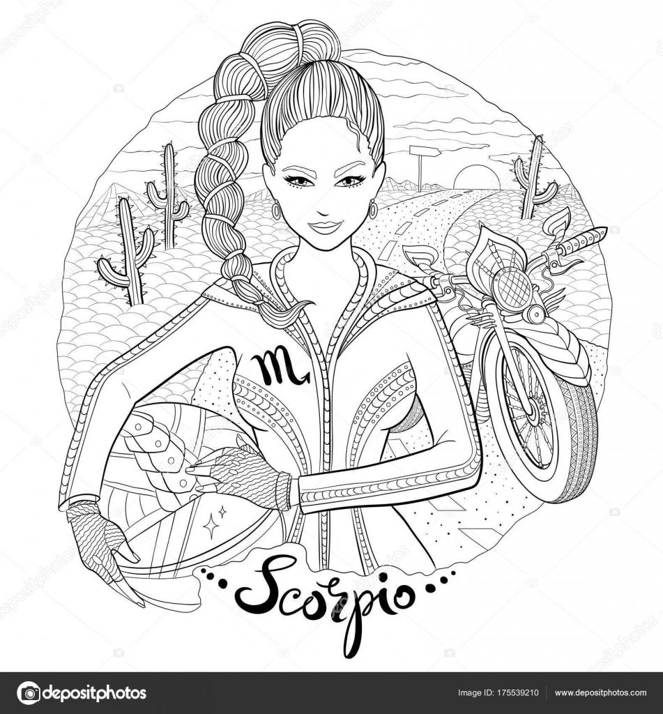 Skorpion Sternzeichen Zeichen junge Frau Motorradfahrer ...