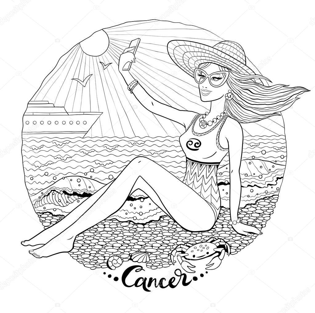 Line art illustration of Cancer zodiac sign