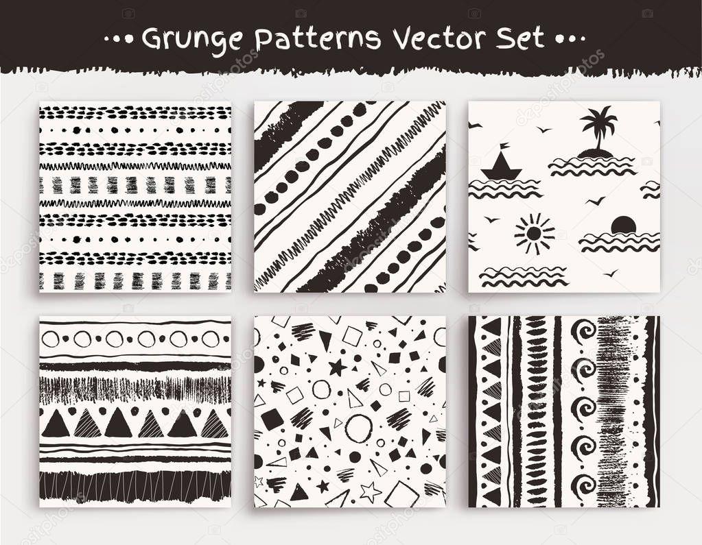 Seamless grunge patterns set