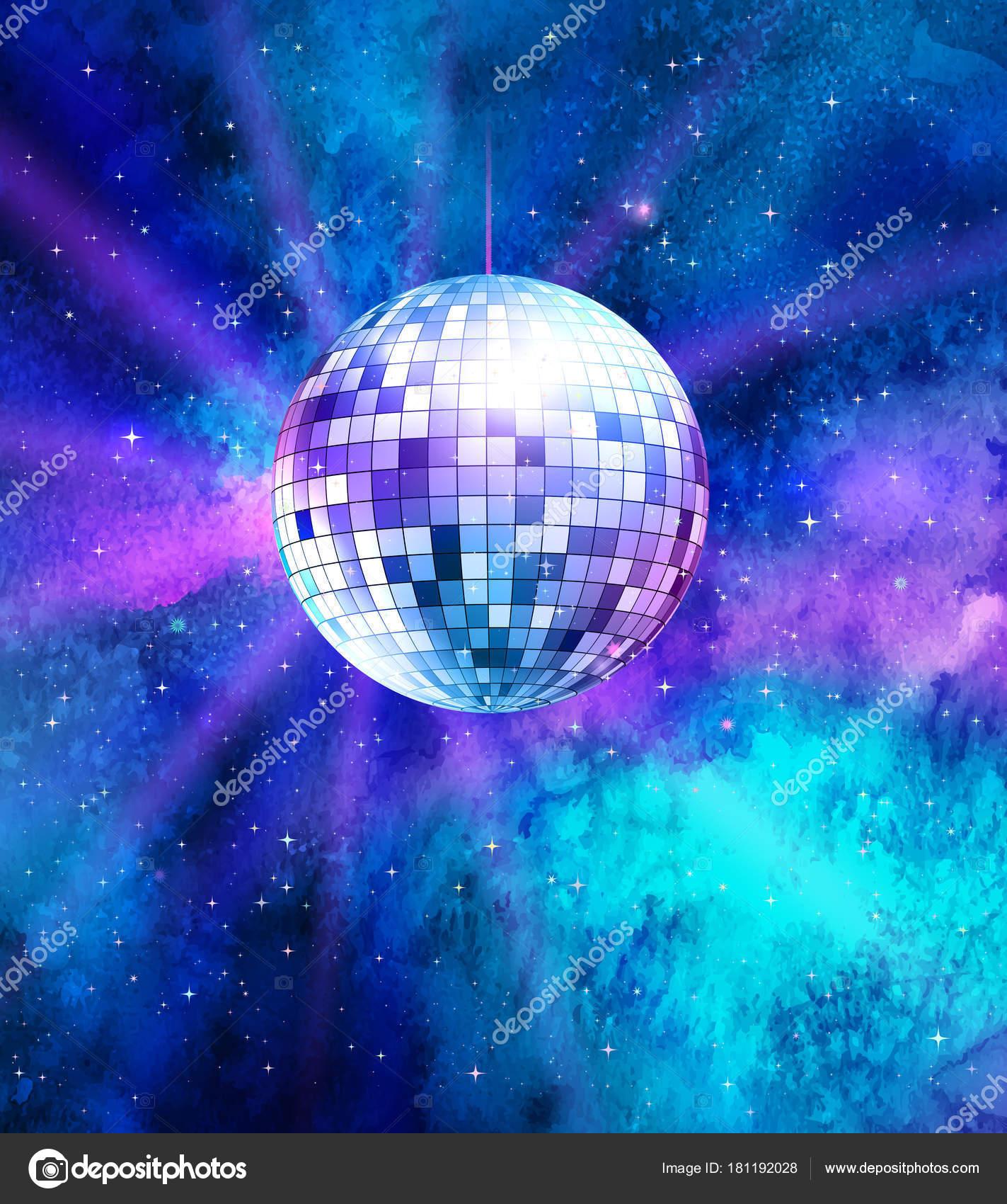 Bola de discoteca em fundo de espa o vetor de stock - Bola de discoteca de colores ...