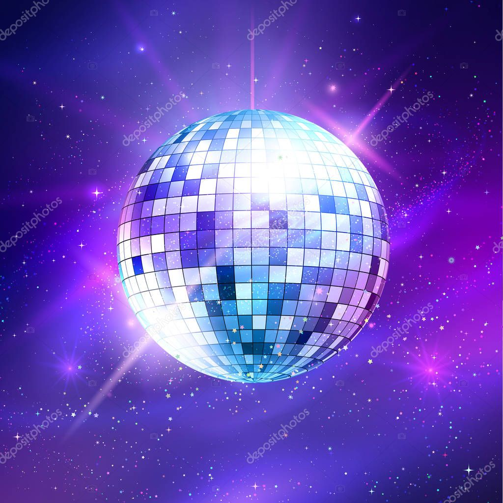 Disco ball on ultraviolet outer space background