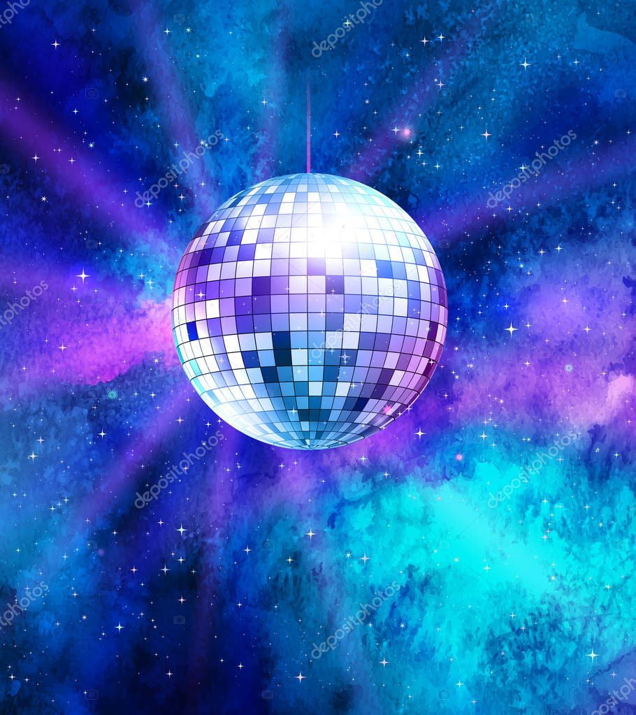 Disco ball on space background