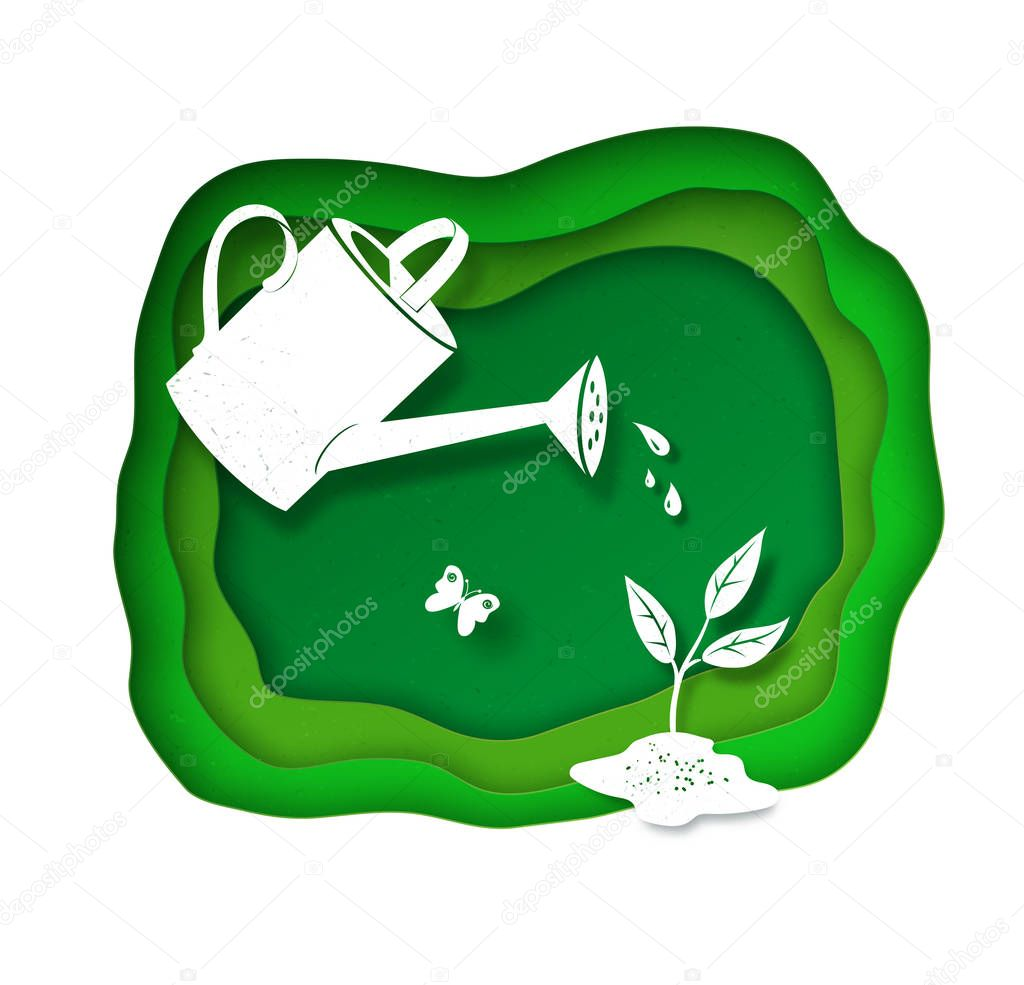 Background with watering can