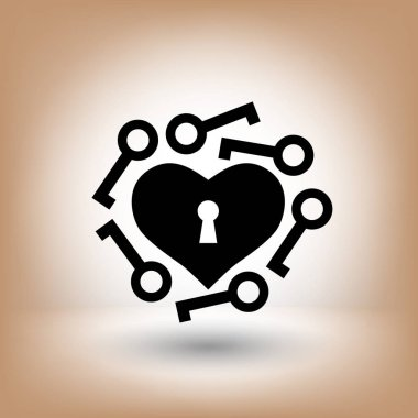 Pictograph of heart with keys