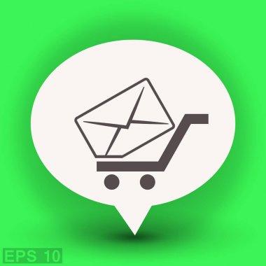 Envelope in shopping cart inside dialog bubble