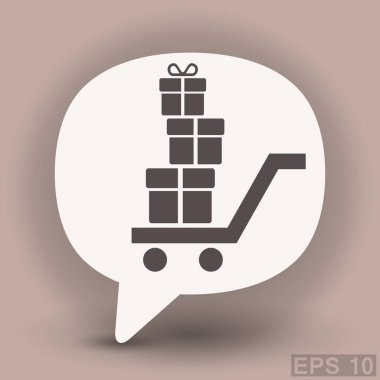Shopping cart with presents in dialog bubble