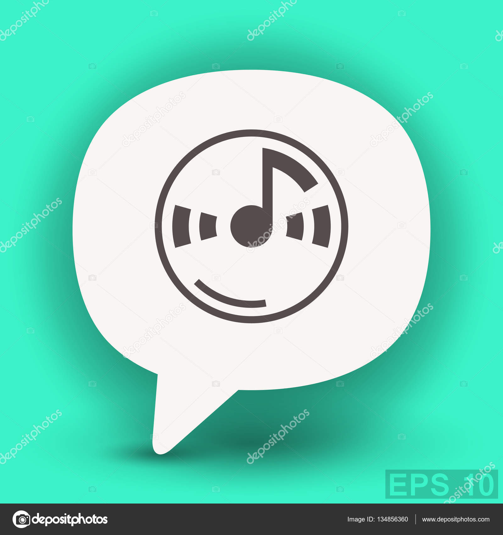 Music Note On Cd Icon Stock Vector Hristianin 134856360
