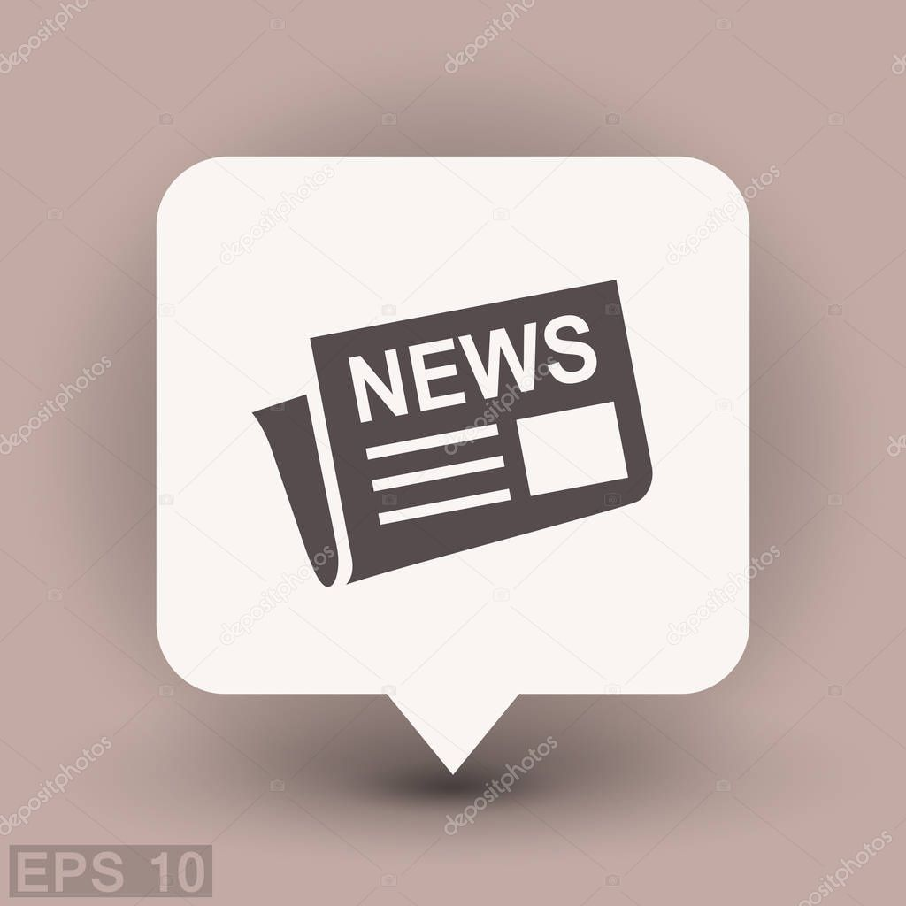 Flat icon of newspaper