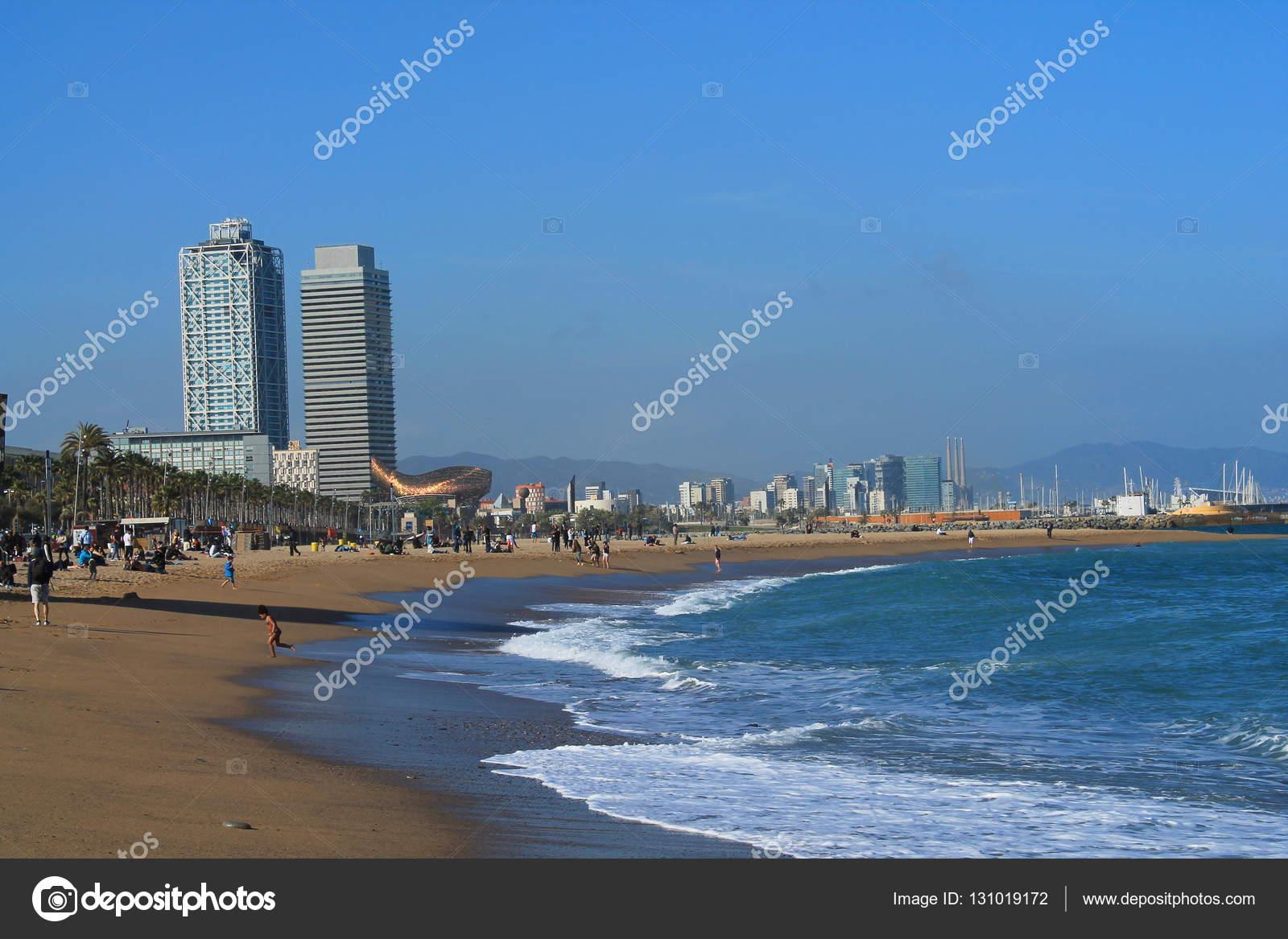 Strand Von Barcelona Hauptstadt Stadt Von Katalonien Stockfoto