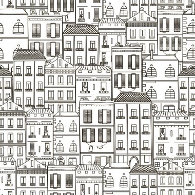 cartoon hand drawn buildings