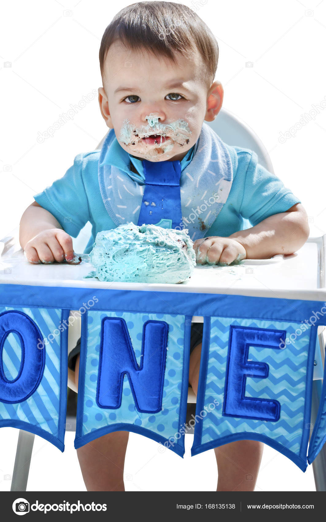 Boy 1st Birthday Smash Cake On Face Stock Image