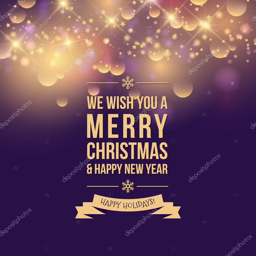 happy new year and merry christmas card greeting card on purple background with gold sparkles