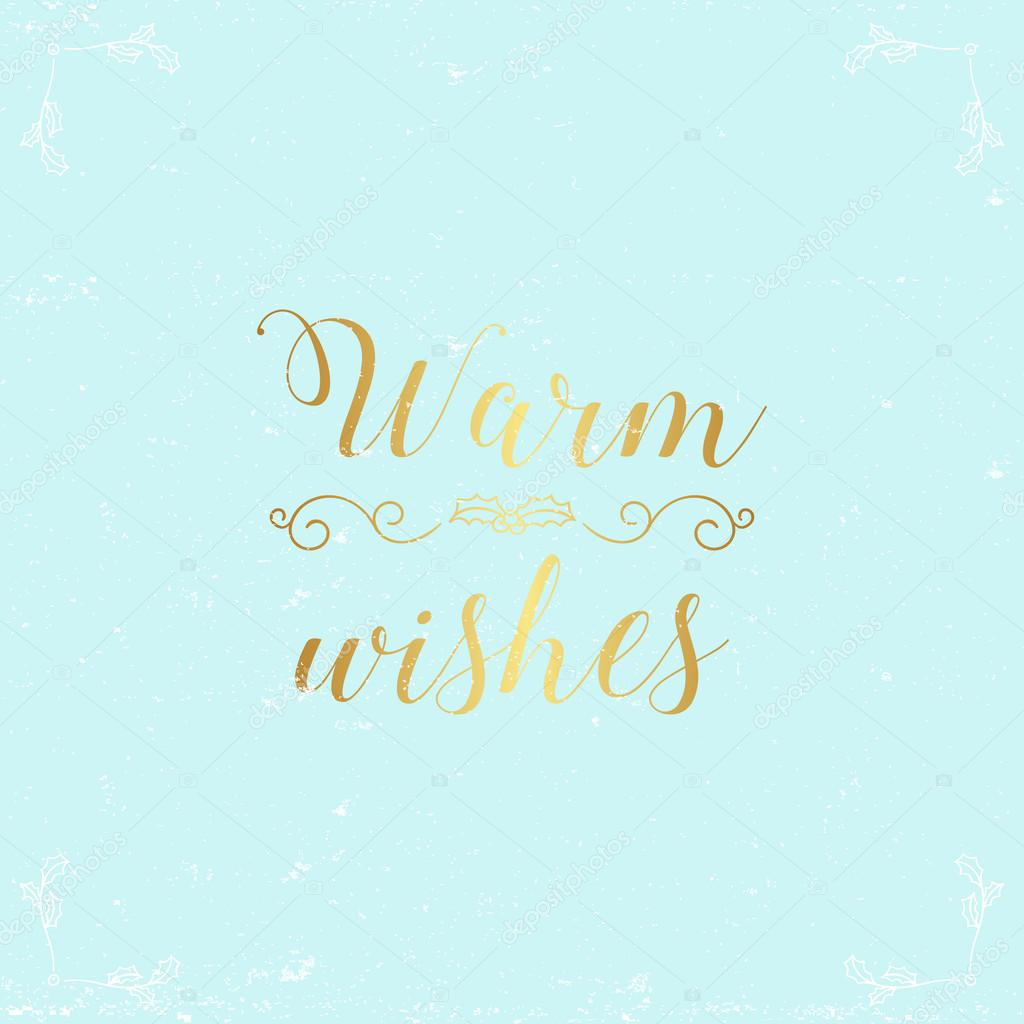 Warm wishes greeting christmas card with light blue background and warm wishes greeting christmas card with light blue background and gold calligraphy stock vector m4hsunfo