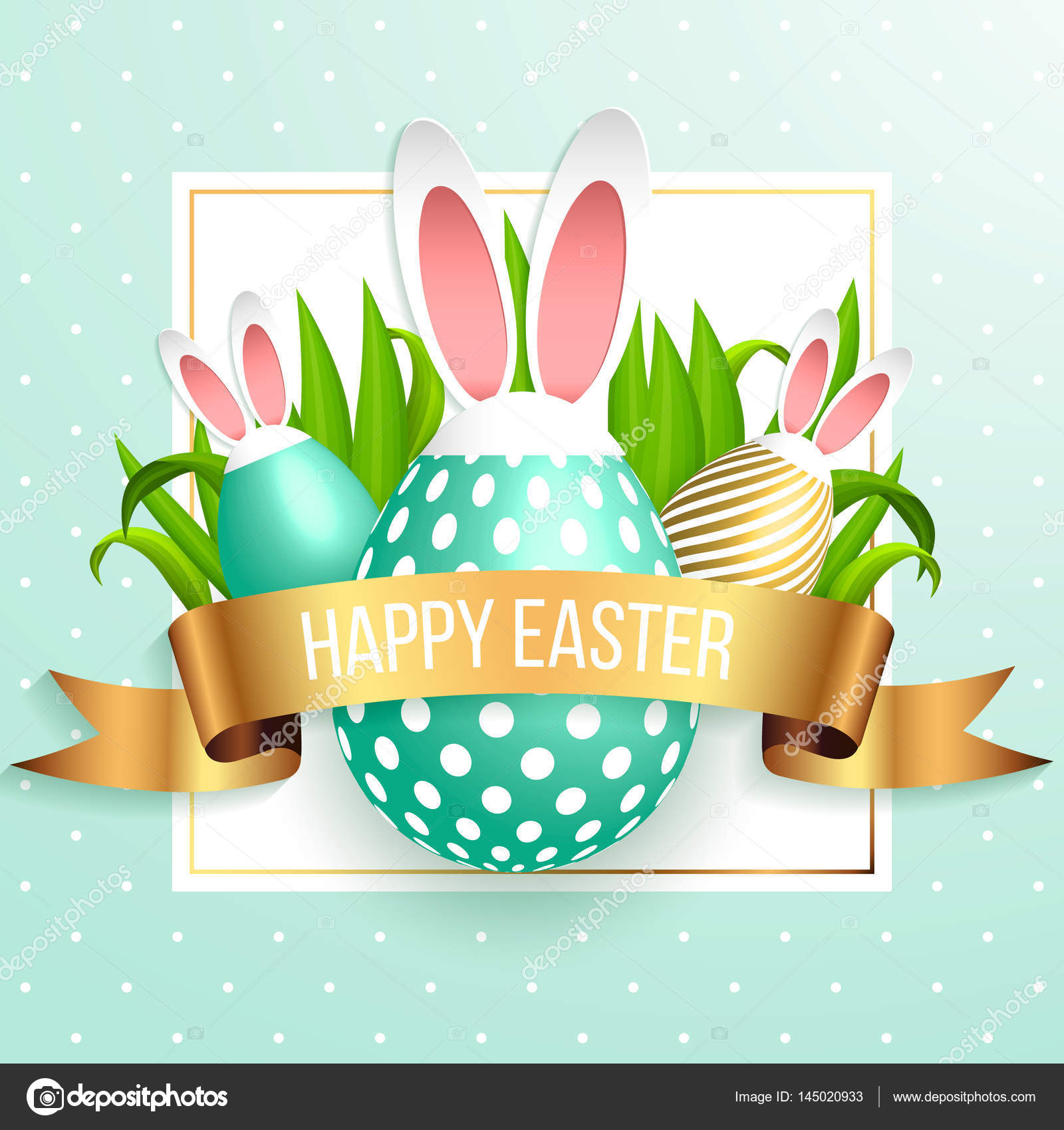 happy easter template with gold ribbon and eggs frame green