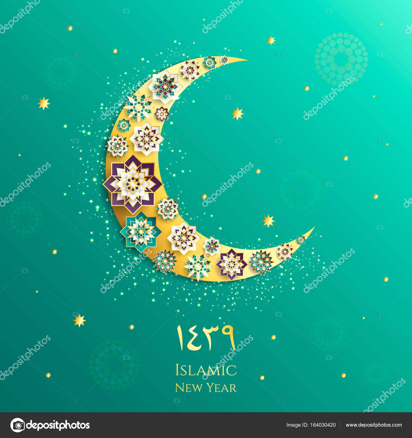 1439 hijri islamic new year happy muharram muslim community festival eid al ul adha mubarak greeting card with 3d paper flower star moon