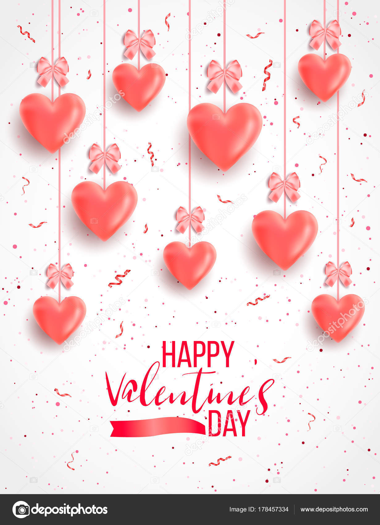 Saint Valentine Day Background Colorful Hearts Frame Happy
