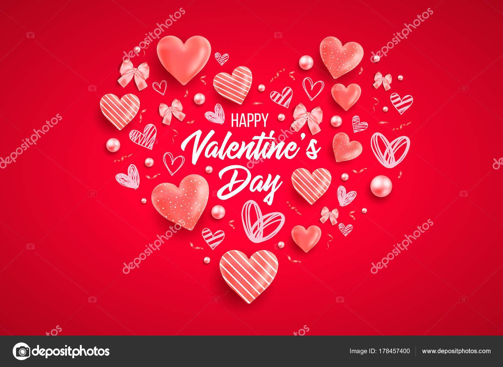 Sankt Valentin Tag Hintergrund Mit Bunten Herzen Mit Rahmen Happy ...
