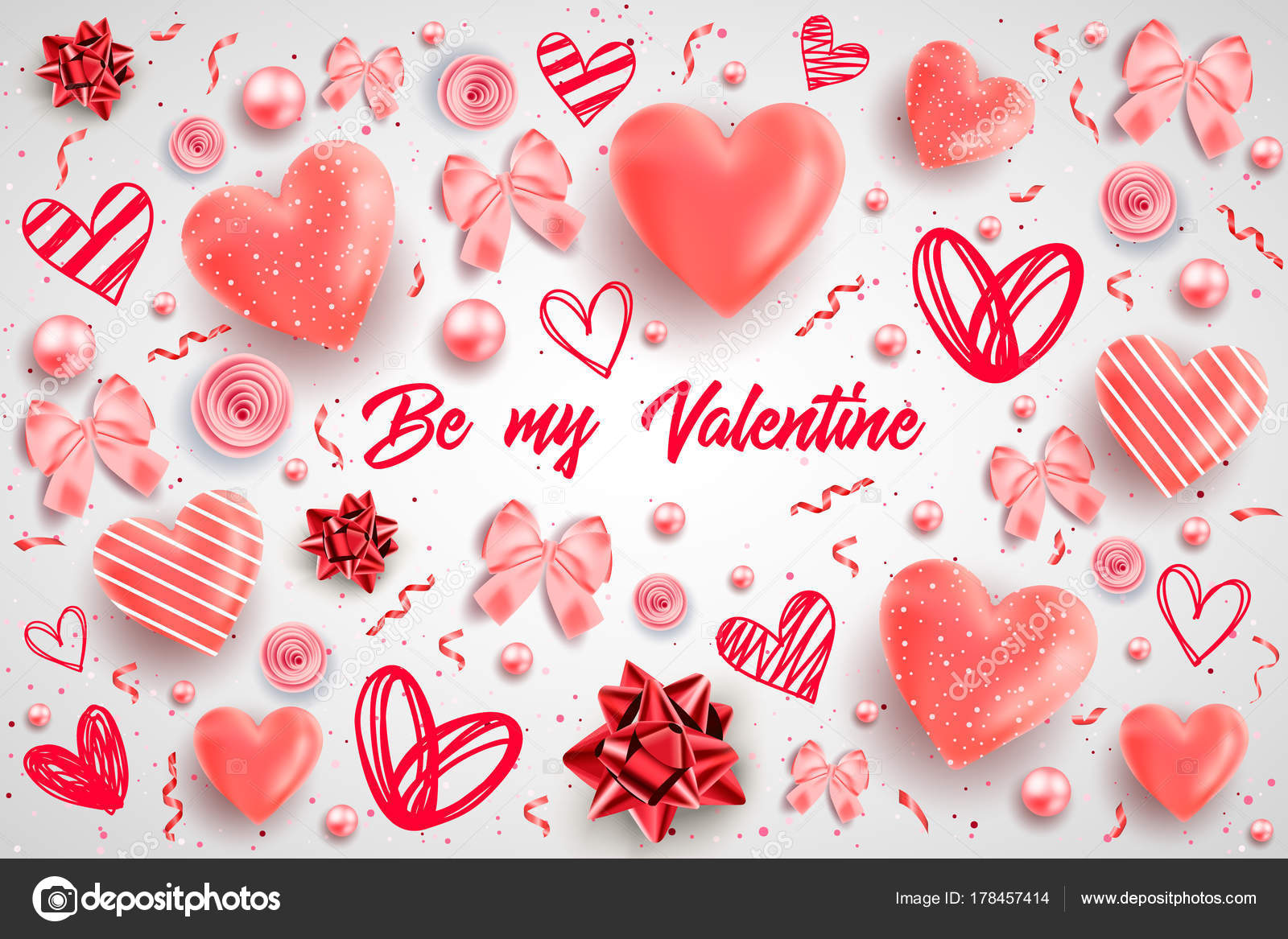 Saint Valentine Day Background Colorful Hearts Frame Happy ...