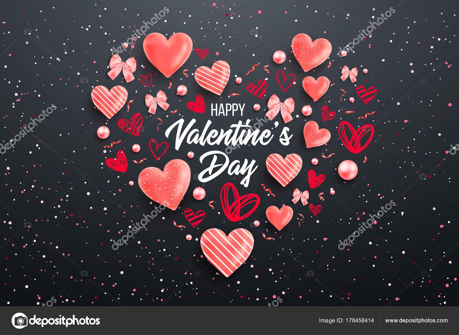 Fondo Del Día San Valentín Con Corazones Colores Con Marco — Vector ...