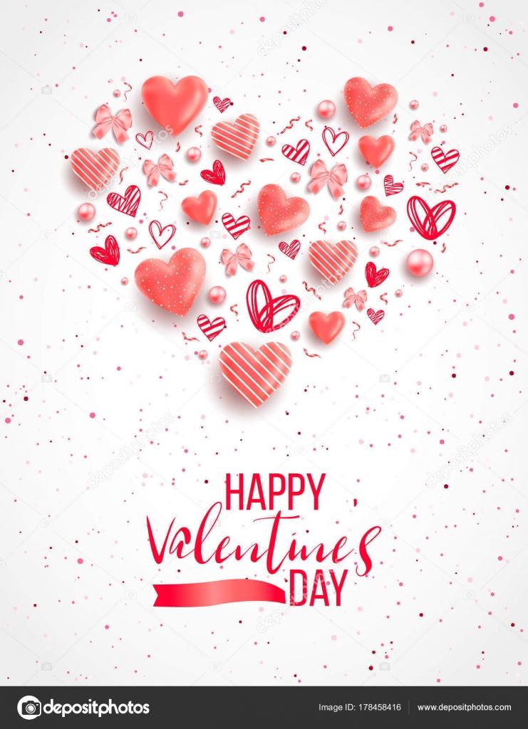 Fondo Del Día San Valentín Con Corazones Colores Con Marco — Archivo ...