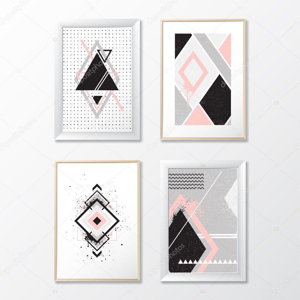 Dibujos Con Cuadros.Sets Cuadros Con Dibujos Geometricos Vector De Stock