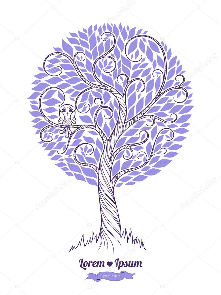 Stylized green tree. Vector illustration. Wedding  invitatio