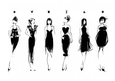 Fashion models in sketch style. Collection of evening dresses. Female body types. Hand drawn vector illustration