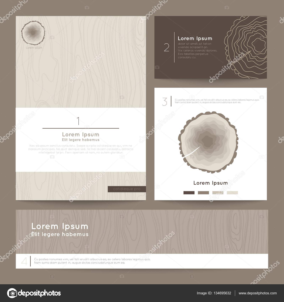 Set of corporate business card folder, banner. Eco branding. Vector ...
