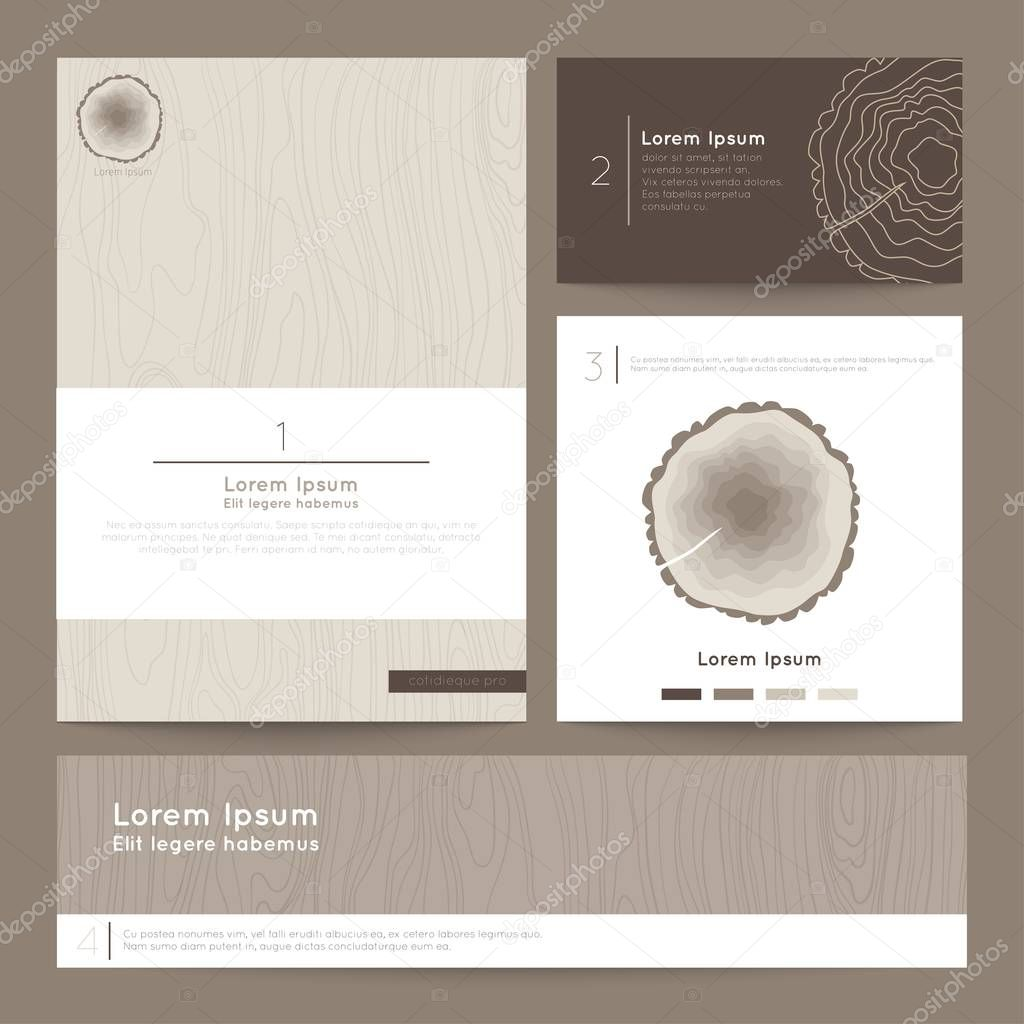 Set of corporate business card folder, banner. Eco branding. Vector illustration