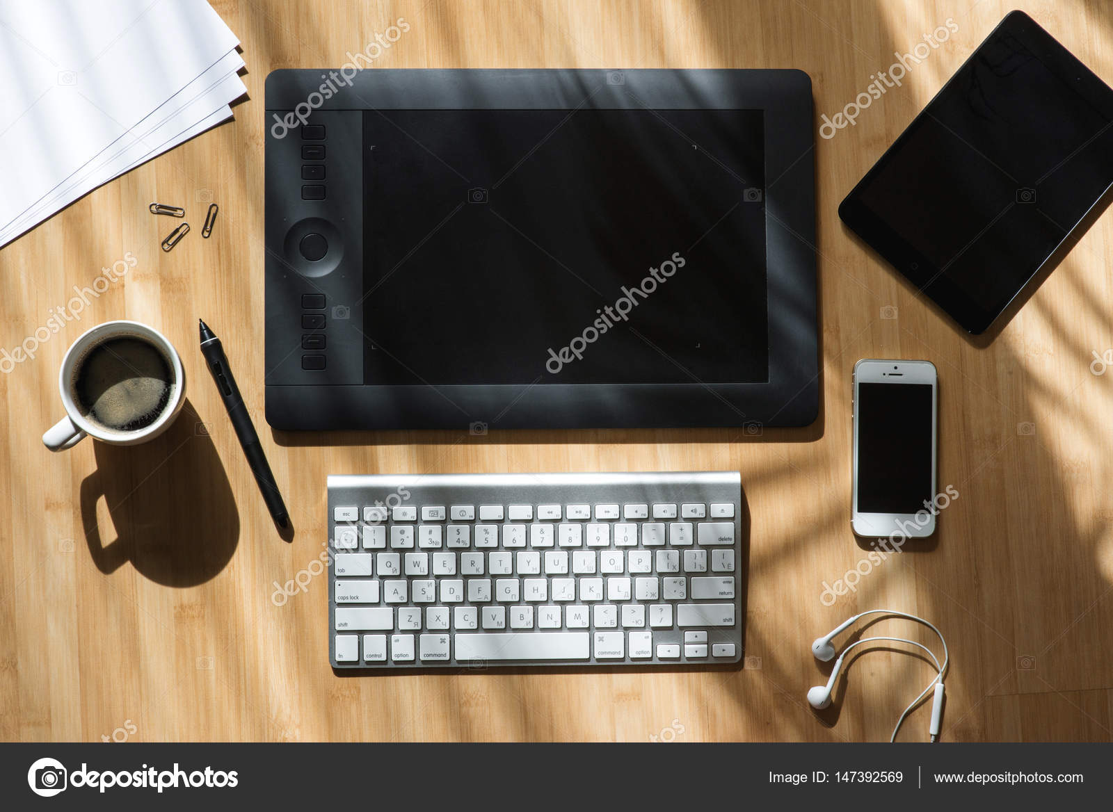 Professional Graphic Designer Desk Stock Photo