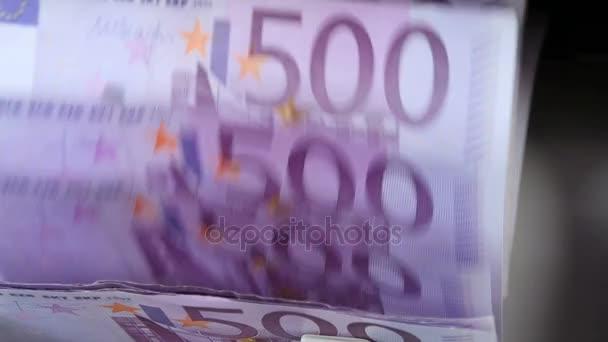 Geld Tellen Geldautomaat Bankbiljet Tegen Rekenen Vijfhonderd Euro Rekeningen Stock S
