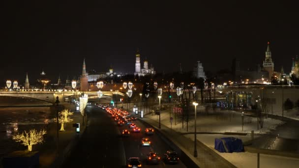 Kremlin and Red Square view at night from Soaring Bridge in Zaryadye Park