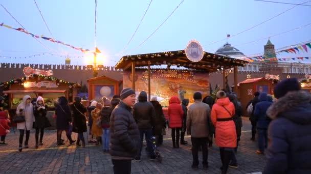 Moskou Rusland 27 Januari 2018 Mensen Op Kerstmarkt Op Het Rode Vierkant
