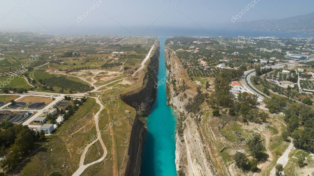 Aerial view of famous Corinth Canal of Isthmus, Peloponnese.