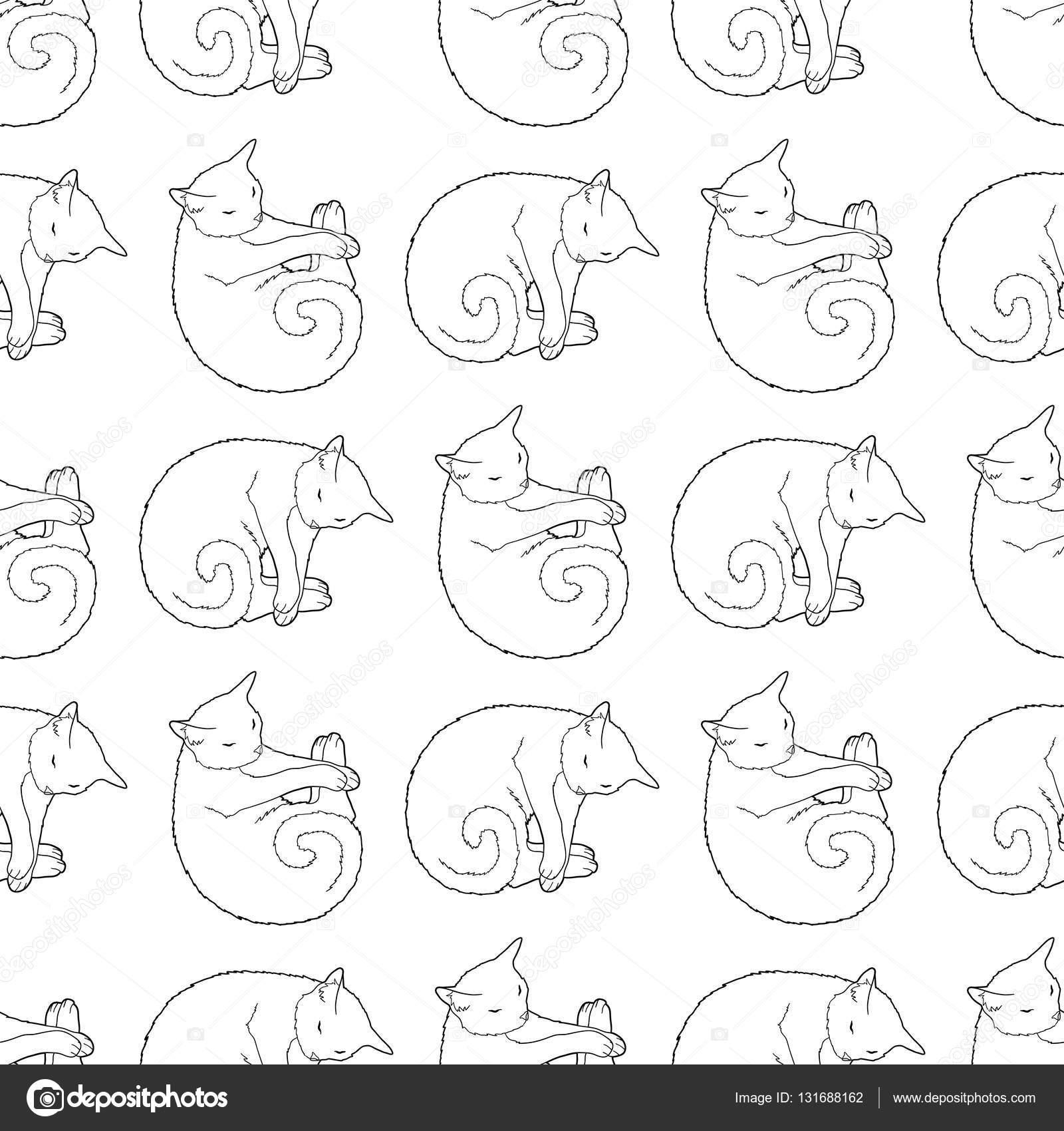 Blanco y negro de patrones sin fisuras con gato — Vector de stock ...