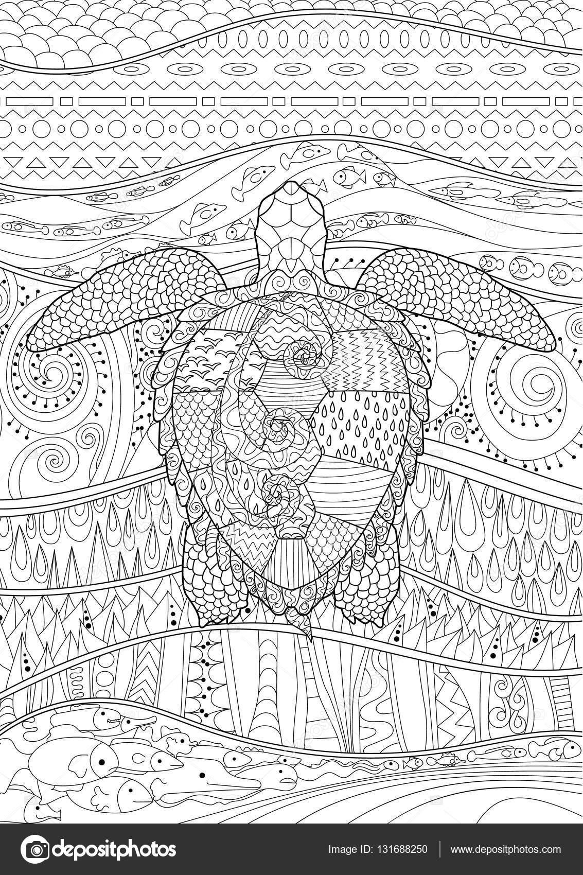 Piscina tortuga con alto detalles dibujados a mano — Vector de stock ...