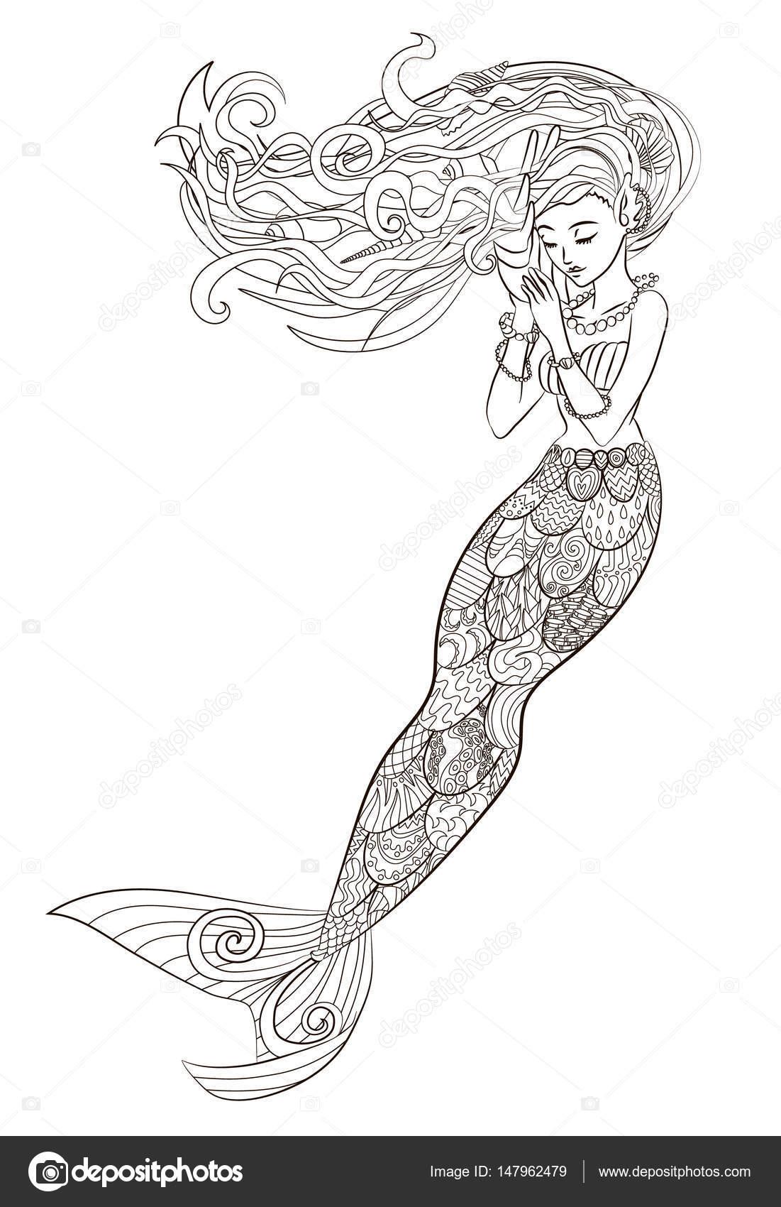 Deniz Kızı Desenli çizimi Stok Vektör Lezhepyoka 147962479