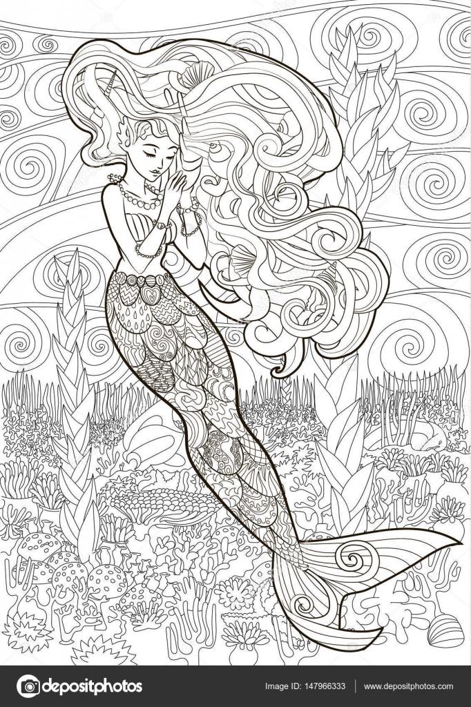 Ilustración con dibujos de una sirena — Vector de stock © Lezhepyoka ...