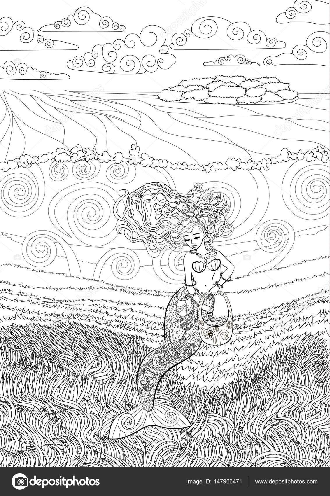 Gemusterte Abbildung Einer Meerjungfrau Stockvektor
