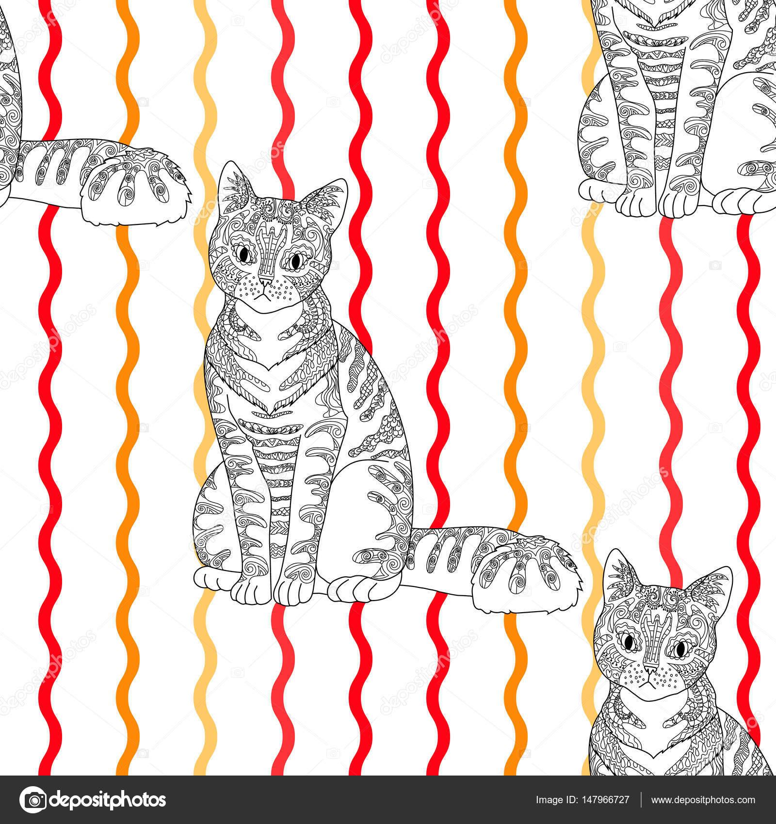 Alto padrão sem costura detalhada com gato — Vetores de Stock ...