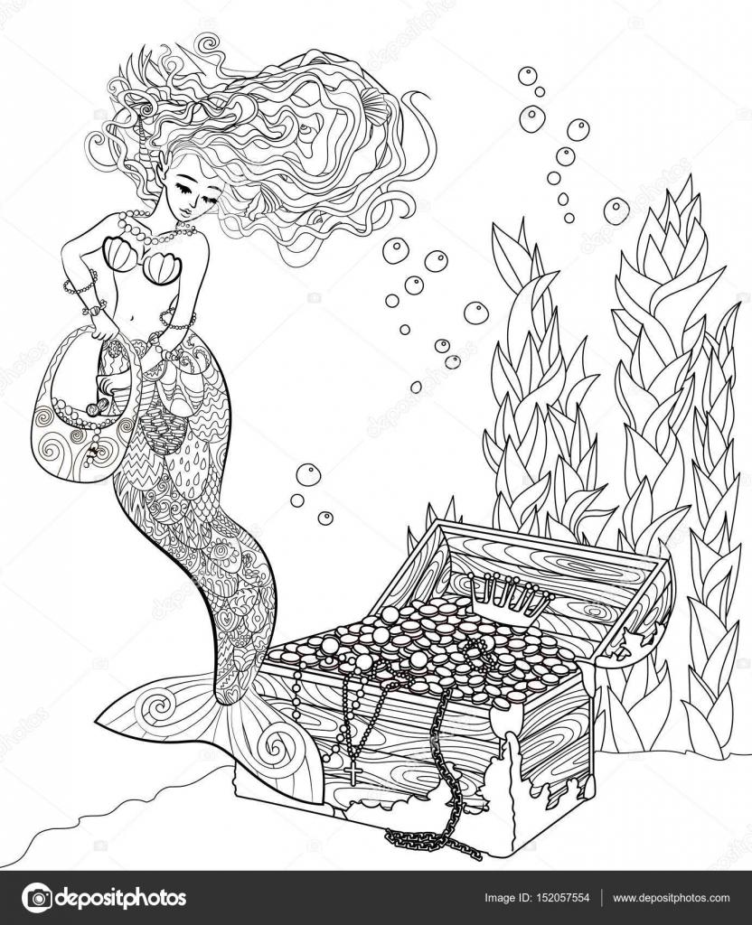 Gemusterte Abbildung Einer Meerjungfrau Stockvektor Lezhepyoka