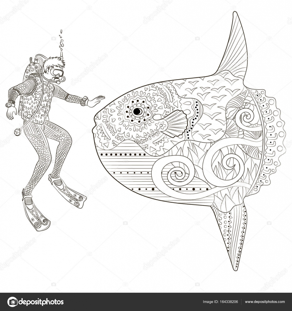 Plongeur Sous Marin Dans Un Style Zentangle Image Vectorielle
