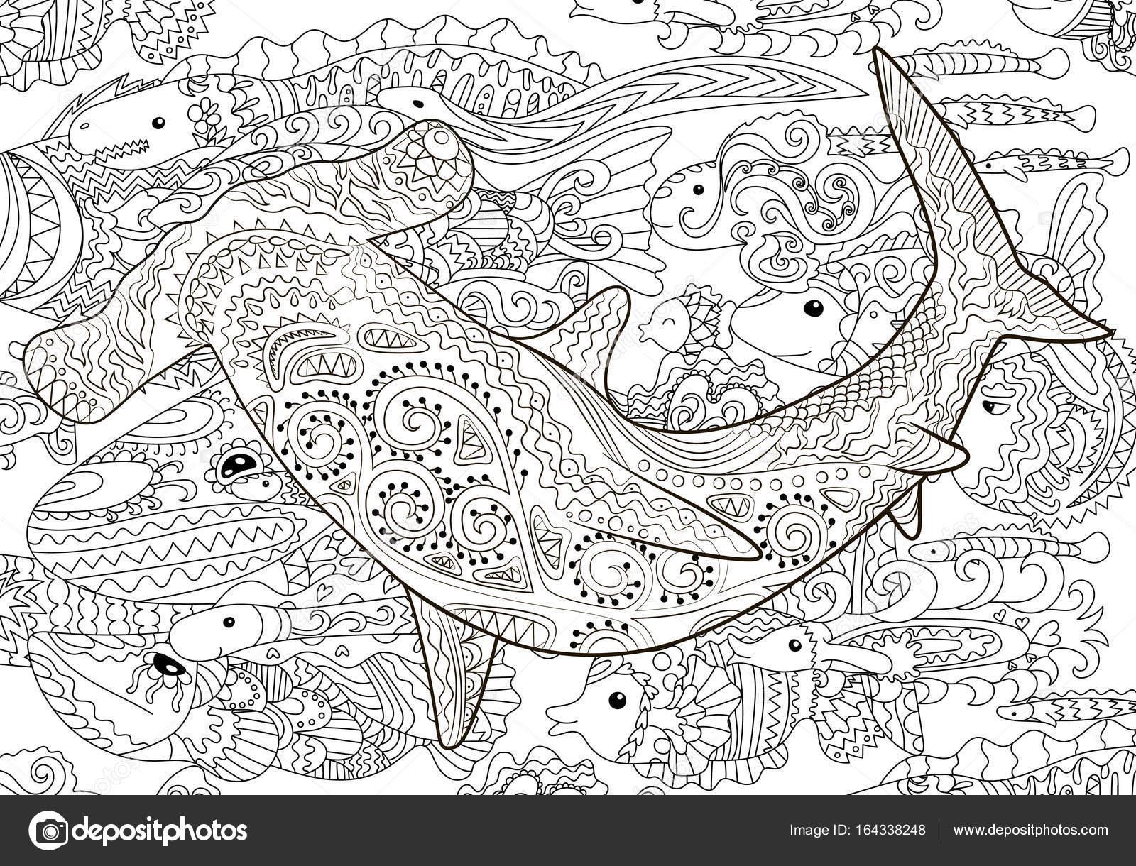 Hammerhai mit hohen details — Stockvektor © Lezhepyoka #164338248