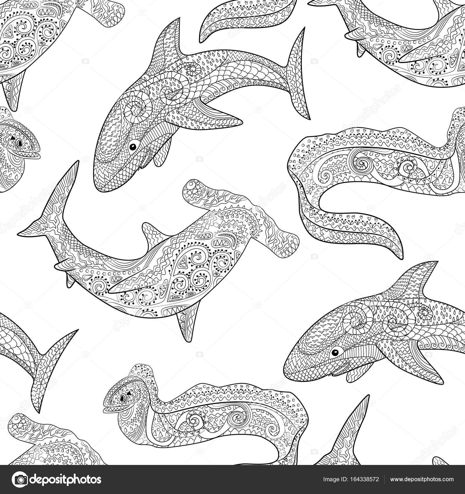 Ozeanische Tiere Zentangle nahtlose Muster — Stockvektor ...