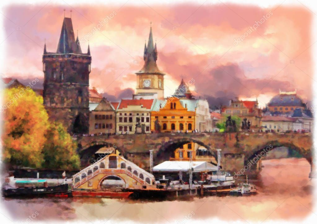 Watercolor illustration of old Prague
