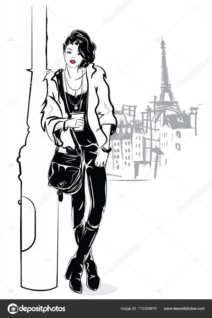 Fille De Mode Dans Le Style De Dessin Sur Fond Blanc