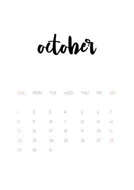 october 2017 calendar page