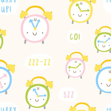 Cute funny clocks pattern stock vector